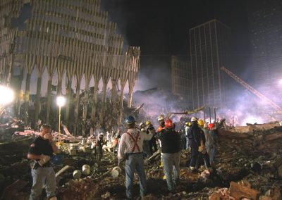 WTC-82 9-17-2001 South west side of ground zero a bucket line removes debris